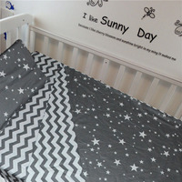 3Pcs Baby Bedding Set For Crib Newborn Baby Bed Linens For Girl Boy Detachable Cot Sheet Quilt Pillow Without Filler