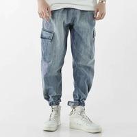 Men denim jogger pants summer street hip pop jeans loose bleached light blue harem pant pocket cargo pantalones vaqueros hombre