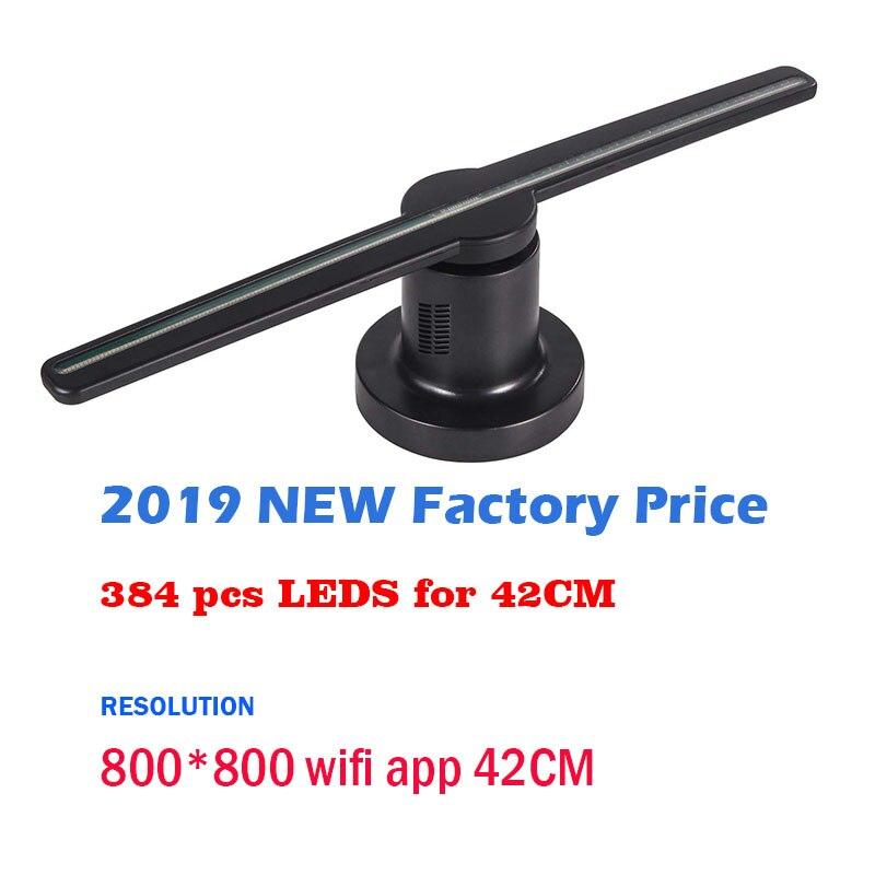2019 plus récent pas cher 42cm wifi app 800*800 résolution 3d hologramme ventilateur LED 3d holographique affichage publicitaire