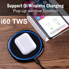 i60 TWS Touch control + Pop up +1:1 size +Support Wireless charging Bluetooth 5.0 Earphones Bass Earbuds PK i21 i30 TWS(China)