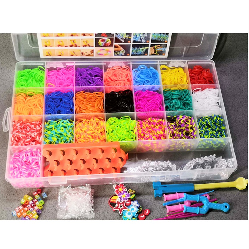 Children Colorful Loom Rubber Band Set DIY Craft Toy Elastic Bracelet Set Weaving Machine Ribbon Knitted Figures Charms Toy