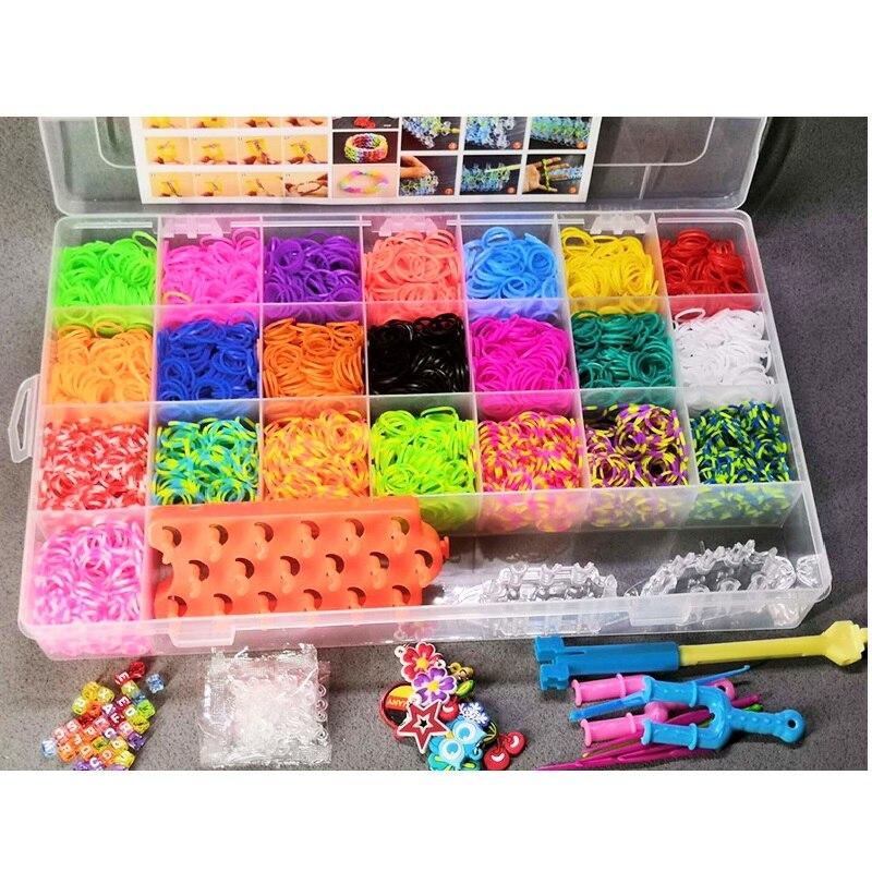 Crianças colorido banda de borracha tear conjunto diy brinquedo artesanato pulseira elástica conjunto tecelagem máquina fita figuras de malha encantos brinquedo