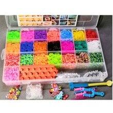 Juego de telar de banda de goma colorida para niños, juego de pulsera elástica de juguete artesanal DIY, máquina de tejer, cinta de punto, encantos de figuras de juguete
