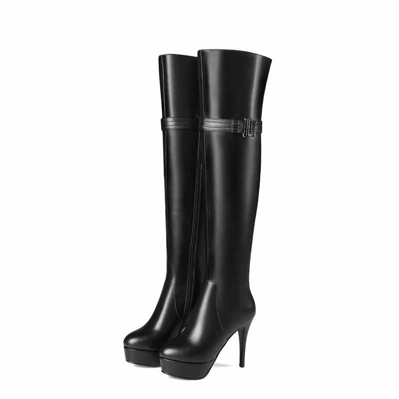 MORAZORA ฤดูใบไม้ร่วงฤดูหนาวใหม่มาถึงผู้หญิงสีดำสีน้ำตาลซิป pu + คุณภาพสูงของแท้หนังเข่ารองเท้า