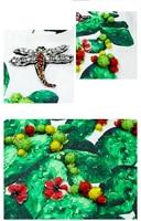 Vestido corto estampado cactus libélula con apliques sin mangas 3