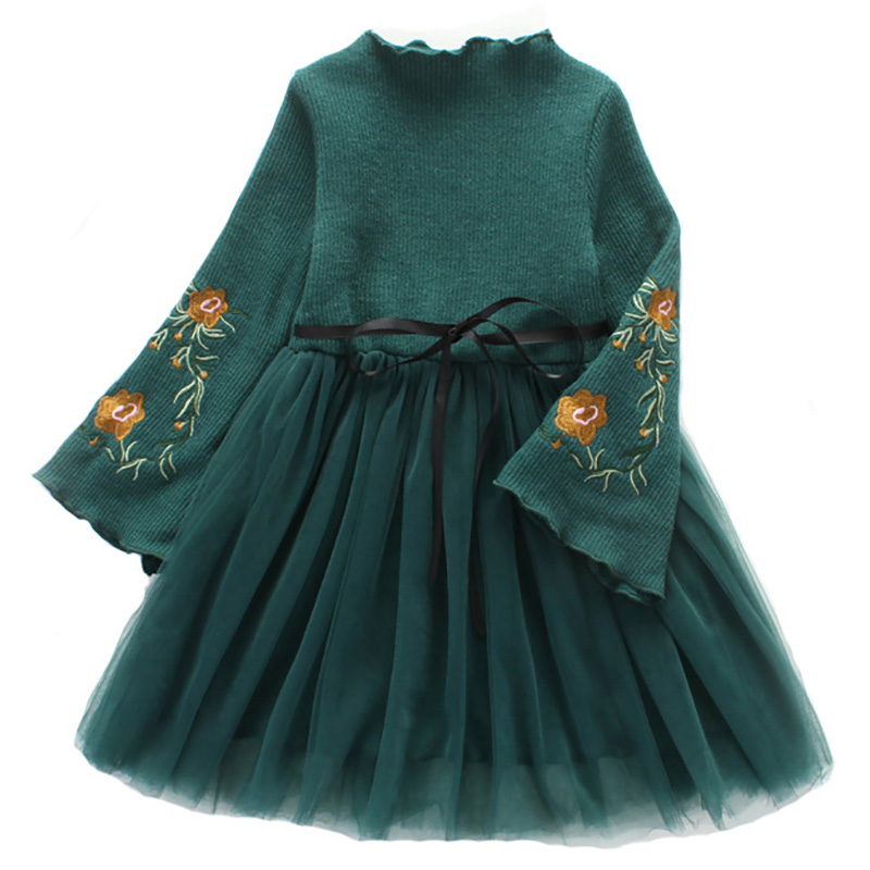 Winter Princess Dress Long Sleeve Kids Dresses For Girls Ball Gown Children Clothing Embroidery Girls Dress Tulle Bow Clothes laser cut insert bishop sleeve embroidery dress