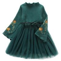 Winter Princess Dress Long Sleeve Kids Dresses For Girls Ball Gown Children Clothing Embroidery Girls Dress