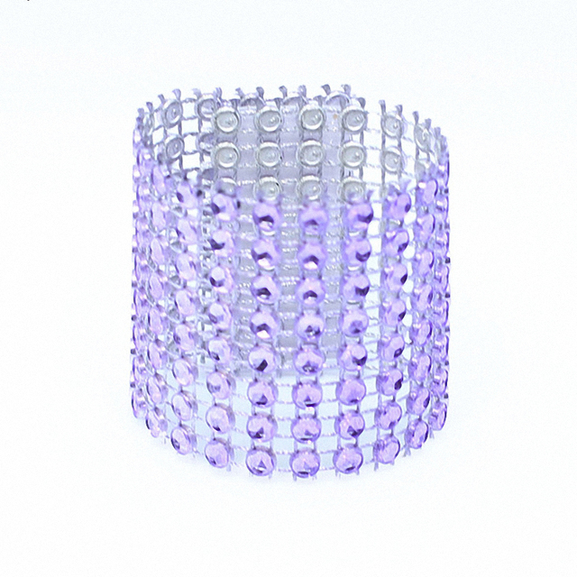 50pcs Handmade Wedding decorations Bling Violet Napkin Rings Bow Wreath  Mariage Diamond Mash Ribbon Festa party supplie e81b40e425f9
