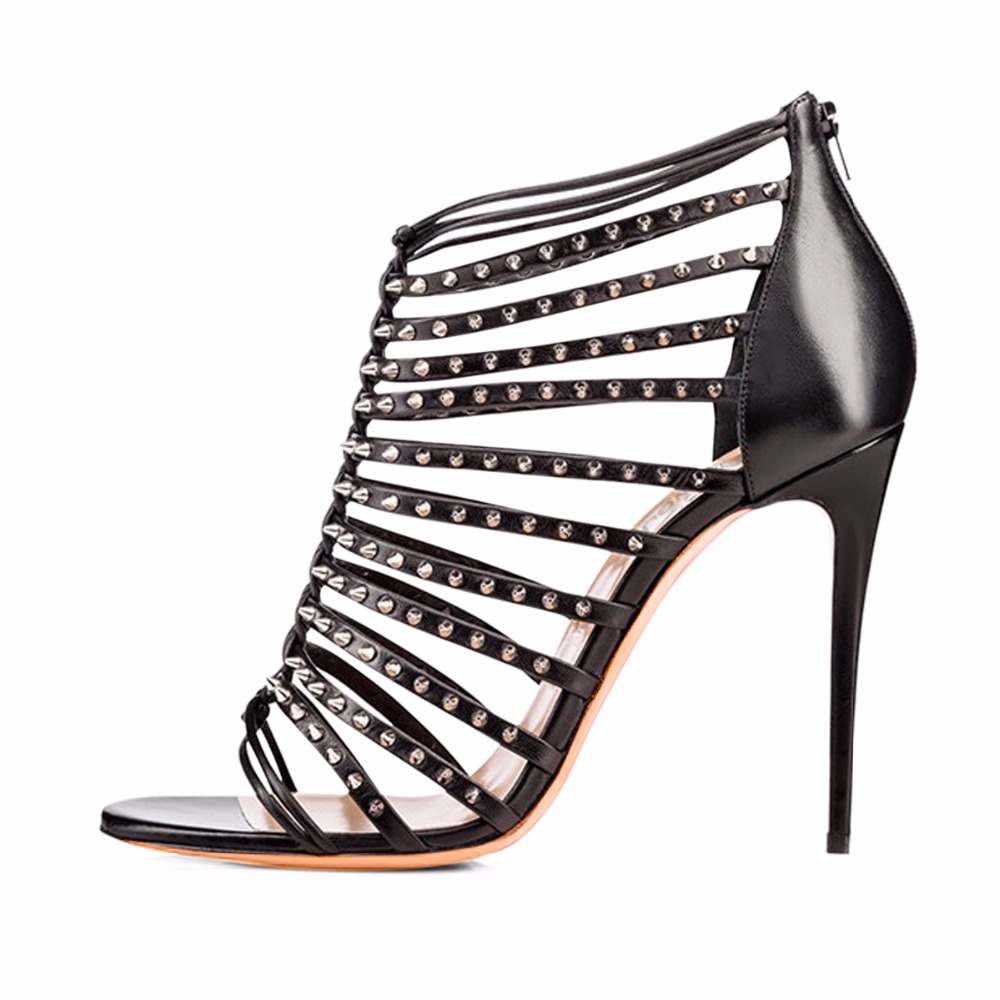ФОТО 2017 New Fashion Shoes Metal Rivet Decorative Rome Style Open Toe Ankle Boot Strap Design Covered Heel Women Shoes
