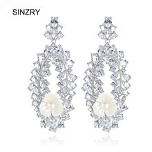 SINZRY jewelry Cubic zirconia personality dangle earrings elegant brilliant vintage flower wedding Drop Earrings for bridal