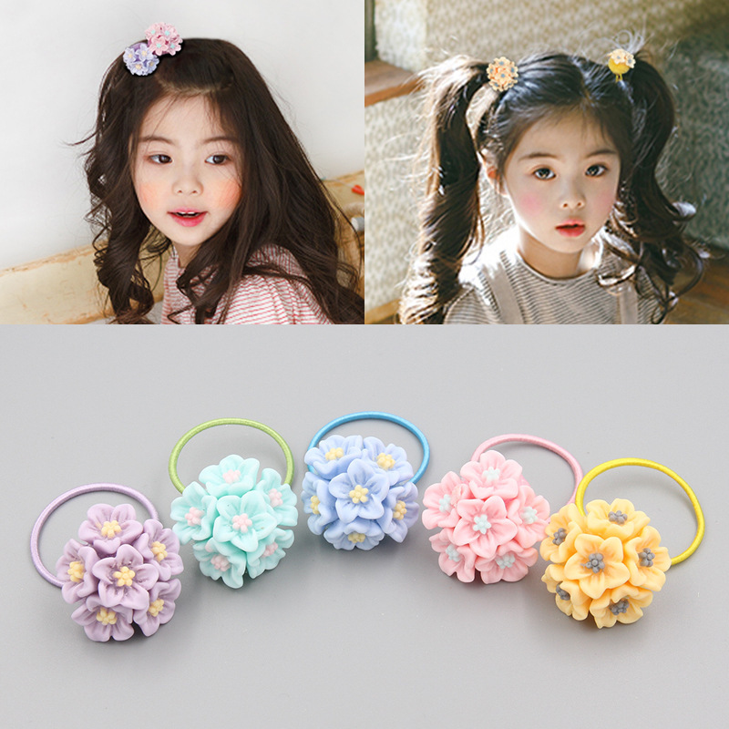 Ruoshui Girls Flower Hair Ties Kids Sweet Lovely Scrunchies Flower Rubber Band Baby Ponytail Holders Hair Accessories Rope Gum