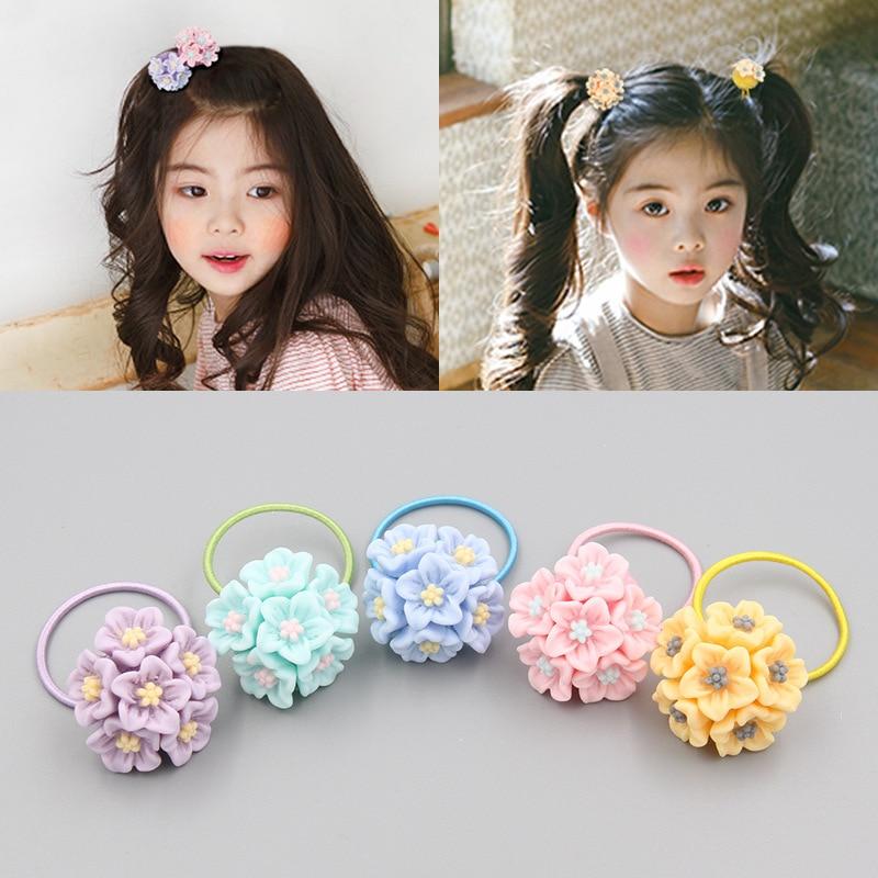 Ruoshui Girls Flower Hair Ties Kids Sweet Lovely Scrunchies Flower Rubber Band Baby Ponytail Holders Hair Accessories Rope Gum