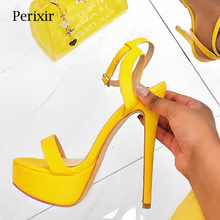Perixir 2019 New Women Sandals Solid Casual High Heel Shoes Night Club Lady Extreme Thin Heels Platform