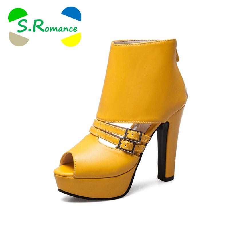 S. romance 여성 샌들 플러스 크기 34 43 패션 높은 스퀘어 발 뒤꿈치 사무실 레이디 펌프 플랫폼 여성 신발 블랙 화이트 옐로우 ss765-에서하이힐부터 신발 의  그룹 1