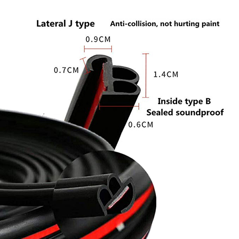 Car Door Edge Guards Edge Trim Rubber Seal Protector B Shape Sound Insulation Upgrade Two In One Fit Most Car 5M CB005 in Styling Mouldings from Automobiles Motorcycles