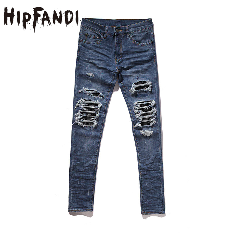 HIPFANDI Justin Bieber Black Icon Designer Men Ripped Jeans Blue/Black Destroyed Slim Denim Casual Skinny Ruched Jeans 30-36