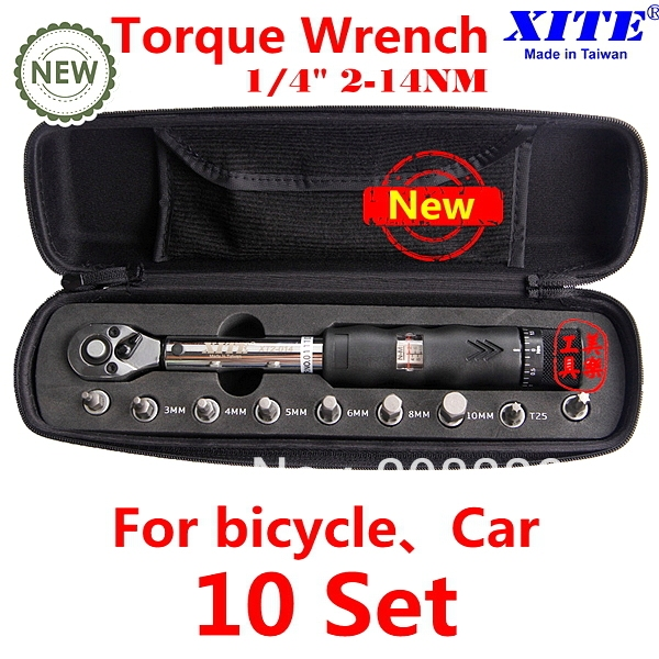 "Free Shipping TOP Quality XITE 1/4"" Drive 10 sets torque wrench 2-14Nm bicycle bike tool kit set bicycle repair tool"