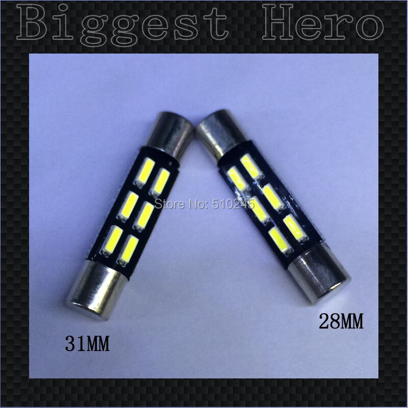 100x Big sales Wholesale Car led 31MM 28MM light T6.3 6 SMD led 6smd 4014 Auto led bulbs ...