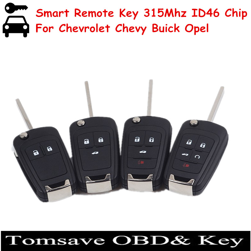 ФОТО Free Shipping Folding Smart Remote Key For Chevy Buick Opel For Chevrolet Cruze/Camaro/Impala/Malibu/Sonic 315MHZ with ID46 Chip