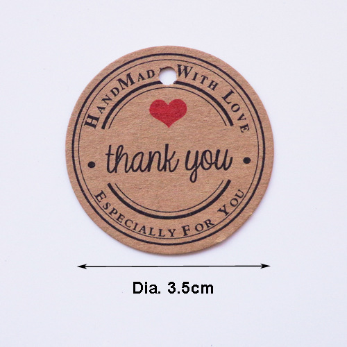 100pcs bag Retro Thank You Handcraft Red Heart Kraft Paper Christmas Gift Tag Packaging Decora Thanksgiving Decoration for Home in Party DIY Decorations from Home Garden