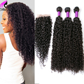 4 pacotes com fecho encaracolado peruano cabelo com lace closure encaracolado kinky lace closure humano cabelo virgem peruano com fecho