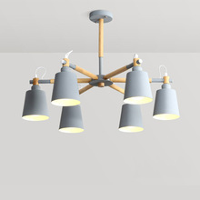 Nordic Wood Chandelier Macaron Color Hanging Ceiling Lamp Modern E27 bulb for Living Dining Room