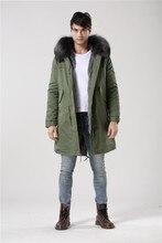 Italy design winter long style outerwear warm male Mr Mrs fur grey real raccoon fur collar coat mens hood fur parka