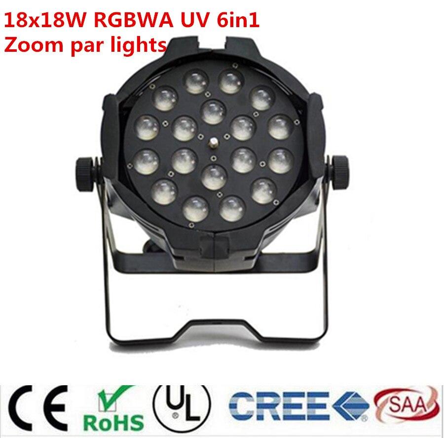 18x18w zoom par light dmx lights dj par 64 rgbwa uv 6in1 led par light for dj party disco