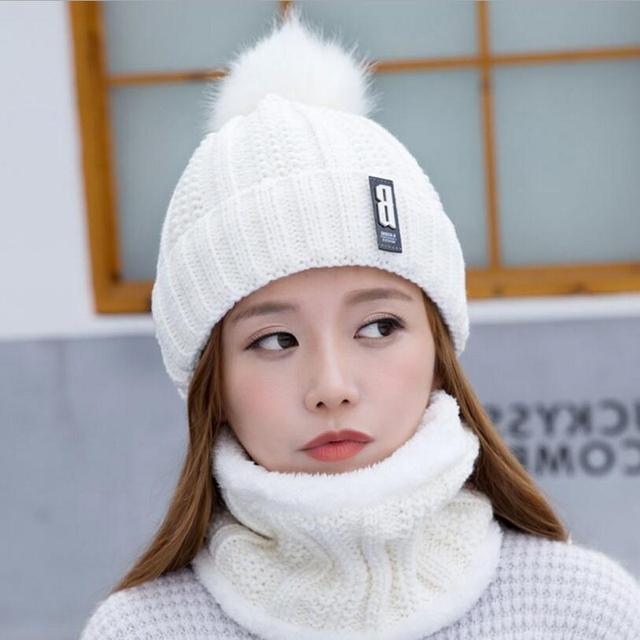 Knitted Velvet Hat Mask Bonnet