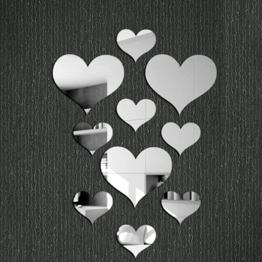 10pcs Love Heart Acrylic 3D Mirror Wall Sticker Mural Decal Removable Stickers   L1025