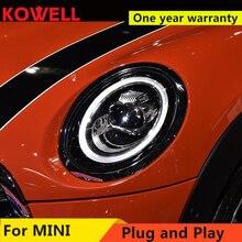 Araba için 2013 2018 Mini F56 bakır farlar F56 tüm LED kafa lambası melek göz led DRL ön açık iki led Lens dinamik dönüş