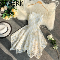Beach Skirt Vestidos Back and High Loin Lace Asymmetry White Hollow Lace Sexy Ladies Women Beach Dress Beachwear Summer Holiday