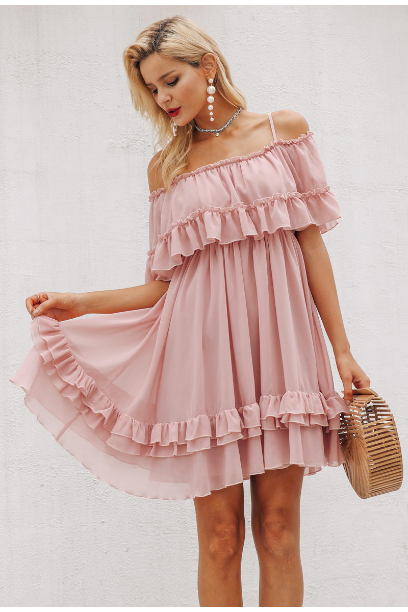 Simplee Elegant ruffle off shoulder women dress Spaghetti strap chiffon summer dresses Casual holiday female pink short sundress 10