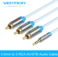 Vention Gold Plated 3.5mm Jack to 3 RCA Audio Cable 1.5 m/2m male to male RCA Aux Cable