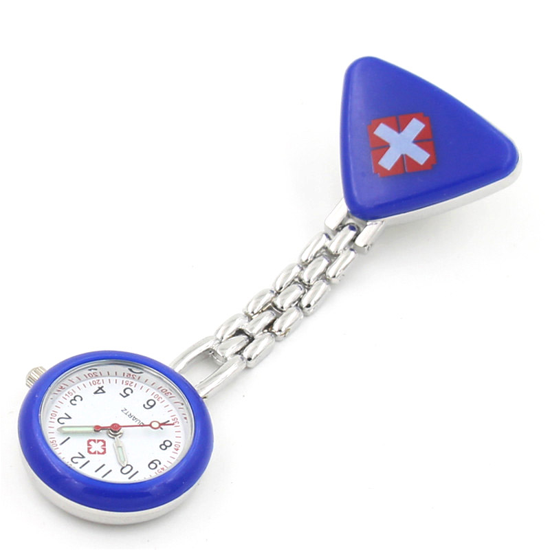 Protable Nurse Watches With Clip Red Cross Brooch Pendant Pocket Hanging Doctor Nurses Medical Quartz Watch LXH