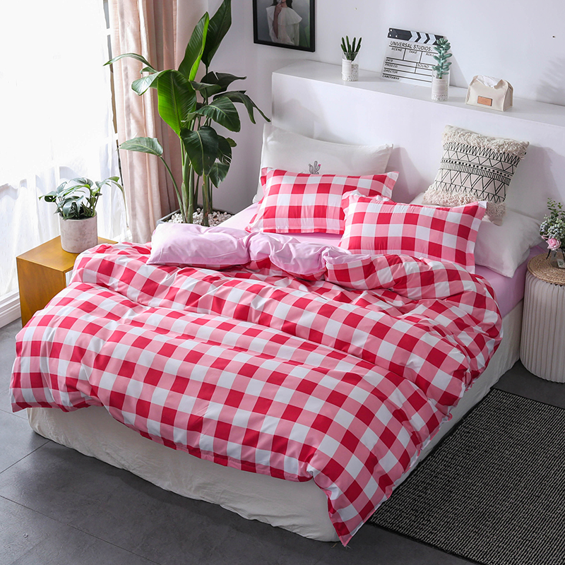 Red Lattice Pattern Bed Linen Sweet Girl Pink Bedding Sets 3/4Pcs Adult Duvet Cover Pillowcase Bed Sheet Red Lattice Pattern Bed Linen Sweet Girl Pink Bedding Sets 3/4Pcs Adult Duvet Cover Pillowcase Bed Sheet
