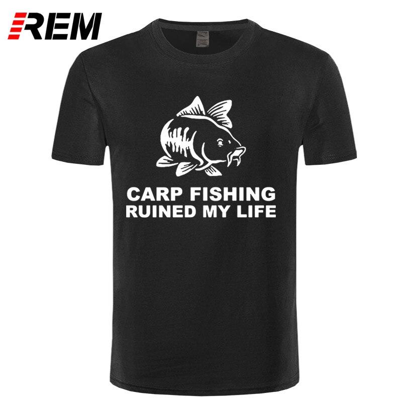 REM крутые футболки мужские короткий рукав Карп fishinger разрушила мою жизнь fishinger Вдохновленный Broadcloth экипажа Средства ухода за кожей шеи Футбо... ...