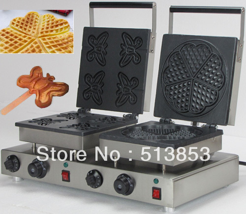 Free Shipping,High Quality  Doulbe-Head Electric Butterfly Waffeleisen + Heart Shape Waffle Maker Machine Baker
