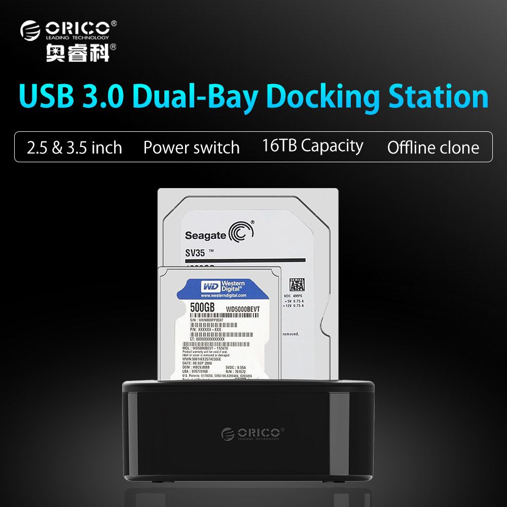 ORICO USB 3.0 to SATA Dual-Bay Hard Drive Docking Station for 2.5/3.5 inch HDD/SSD with Offline Clone Function [UASP Protocol] корпус для hdd orico 9528u3 2 3 5 ii iii hdd hd 20 usb3 0 5