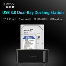 ORICO USB 3.0 на SATA двойной-Бей жесткий диск Док-станция для 2.5/3.5 дюймов HDD/SSD с форума клон Функция [протокола UASP]