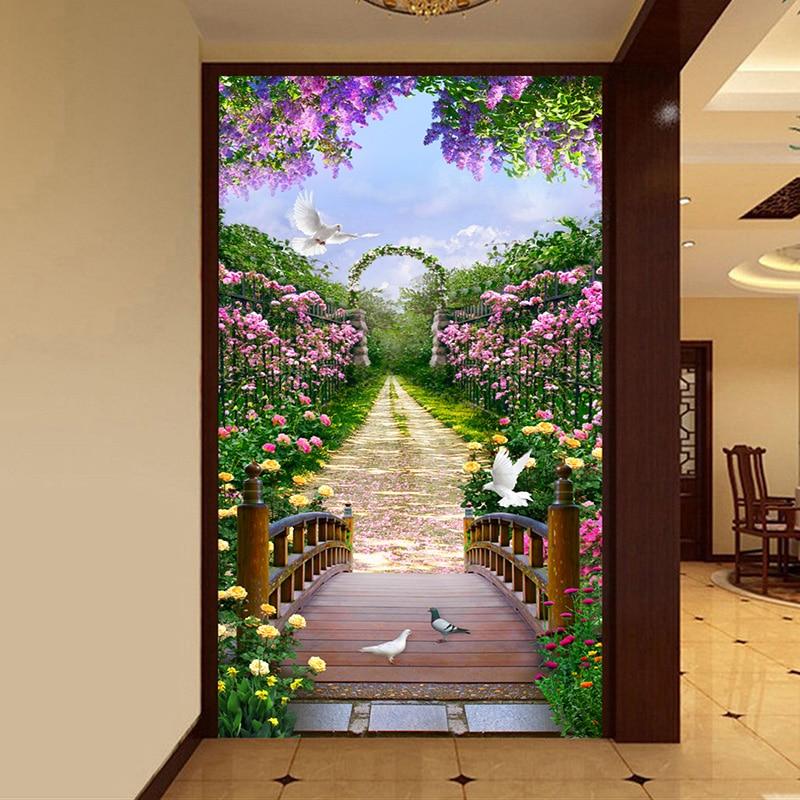 3D Living Room Entrance Wall Decor Custom Mural Photo Wallpaper Garden Flowers Road Wall Paper Murals 3D Non-woven Wallcoverings