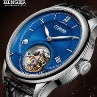 High Quality Seagull Tourbillon Mechanical Watch Crocodile Leather Strap Sapphire Men Skeleton Automatic Watch BINGER Blue dial