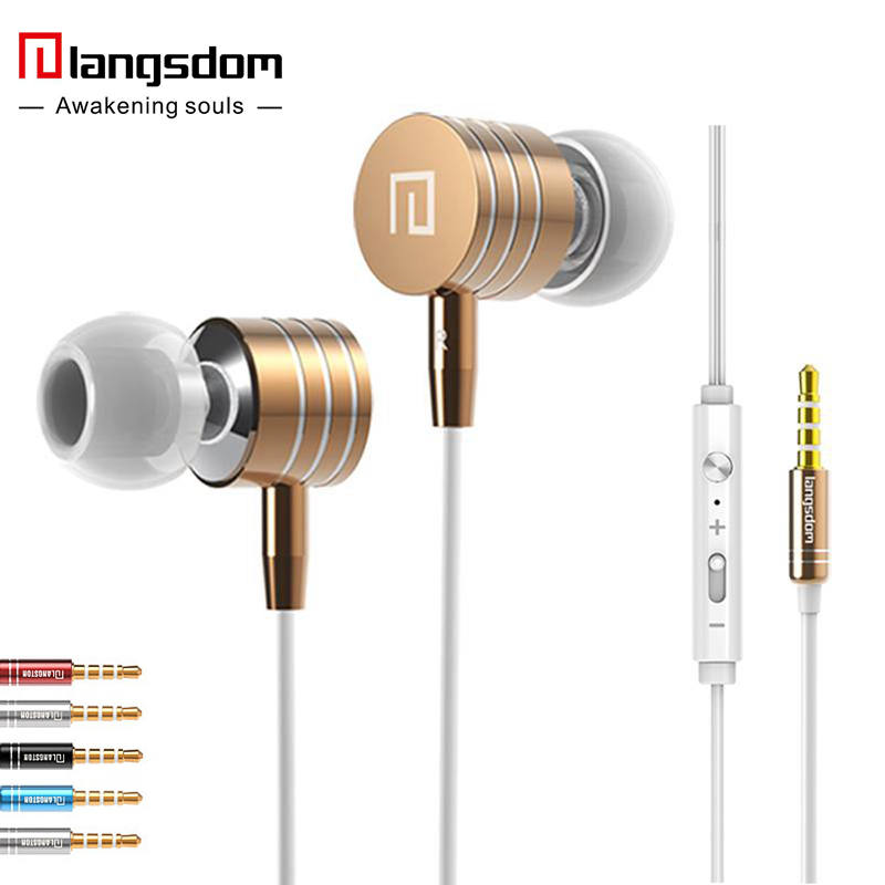 Langsdom I-7a Original Metal Stereo Bass Earphone Volume Control With Mic Headsets 3.5mm jack Earpods for all phone Mp3 PC