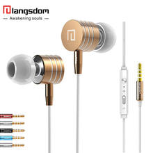 Langsdom i-7A Metal Earphones Super Bass Earphones with Microphone&Volume Control Stereo Headset for Phone Mp3 fone de ouvido