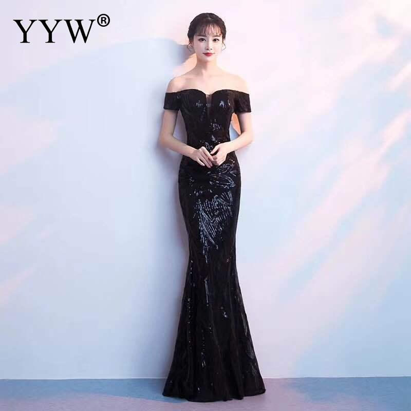 New Fashion 2019 Gold Sequined Women Evening Dress Off Shoulder Sexy Robe De Soiree Slim Elegant Long Party Gowns Formal Dresses