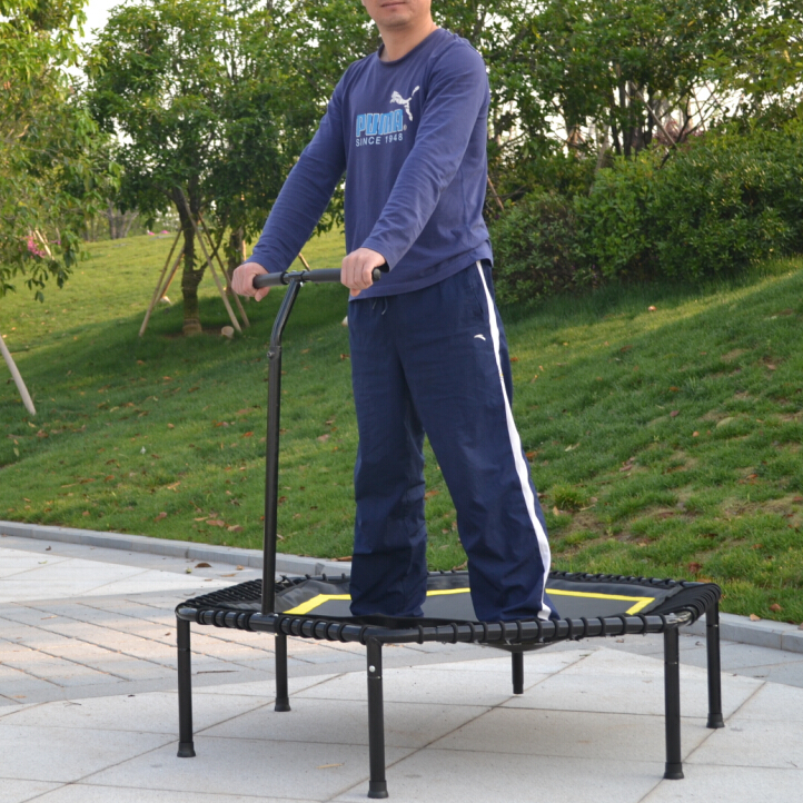 Hexagonal Trampoline with Bungee Cord suspension hexagonal fitness bungee trampoline with handrail