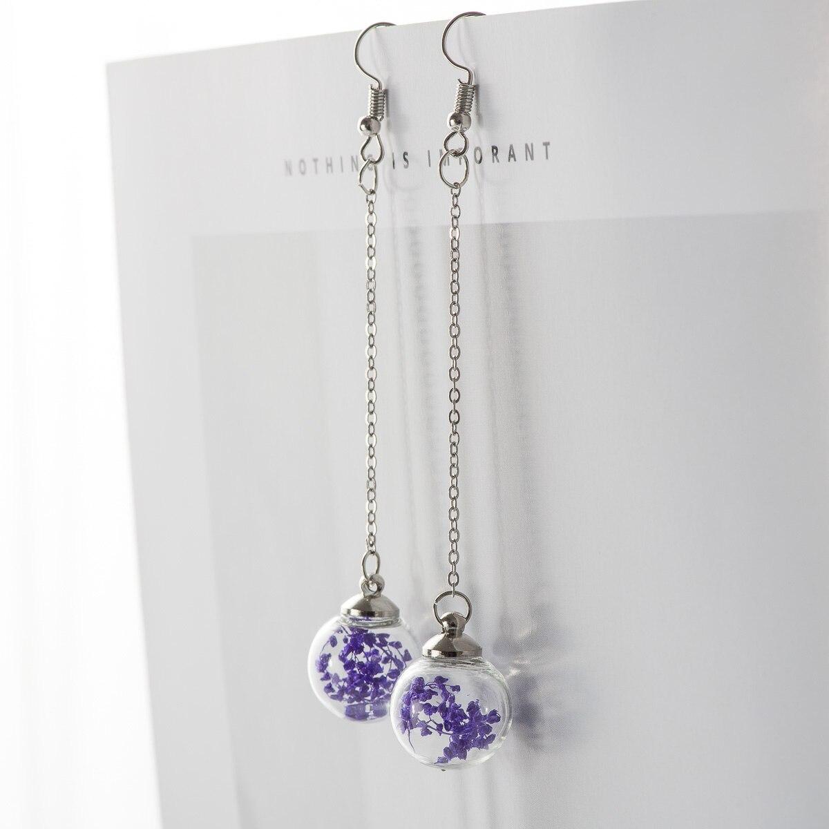 Flower Eardrop Dried Flower In Glass Ball Earrings Fantasy DIY Ear Lines Dangle Earring For Women #HZ201