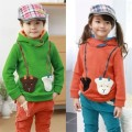 2015 winter children's clothing girls thicken small cotton cashmere sweater coat plus velvet hooded jacket coat kids boy clothes