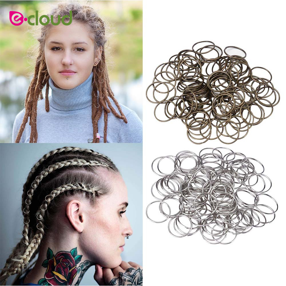 100pcs/lot Dreadlock Beads Deep Copper And Silver Color Hair Bead For Dreadlocks Hair Rings Braiding Hole Micro Ring