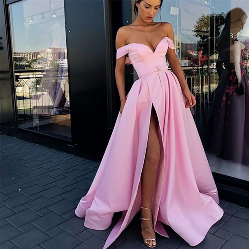 Verngo Off the shoulder   Evening     Dress   2019 A-line Slit side Stain Long vestido fiesta Sexy Plus size Custom made